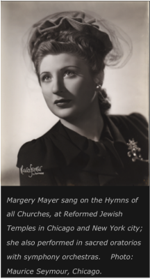 """Margery Mayer as soloist on """"Hymns of All Churches"""" radio broadcast."""