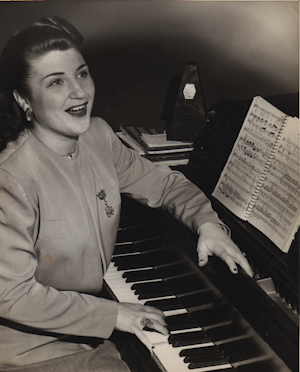 Margery Mayer, teaching students to sing. Photo: Staten Island Advance, 1951