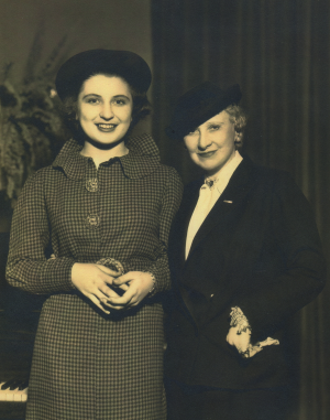 Margery with Mary Garden at time of contract signing with MGM.
